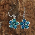 Hawaiian Plumeria Sterling Silver Opal Hook Earring