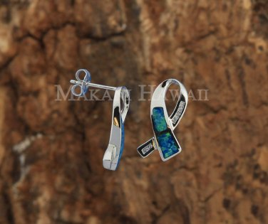 Sterling Silver Opal CZ Ribbon Earrings