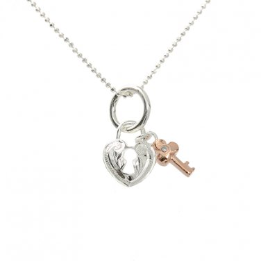 Two Tone Scrolling Heart w/Key Pendant