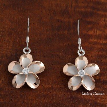 Hawaiian Plumeria Two tone Solid Silver Hook Earring