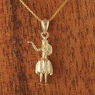 14K Yellow Gold Hula Girl Pendant(M)