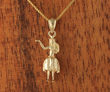 14K Yellow Gold Hula Girl Pendant(M)