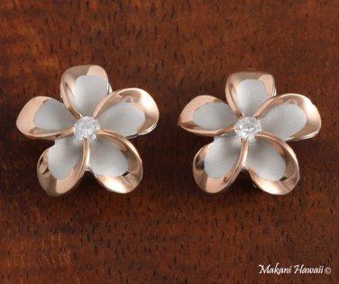 Plumeria CZ- Rhobium French Clip Pink Gold Earring