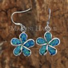 Hawaiian Plumeria Sterling Silver Opal Hook Earrings