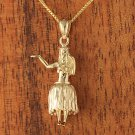 14K Yellow Gold Hula Girl Pendant