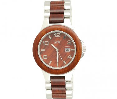 Mens Natural Rose wood and Steel Watch