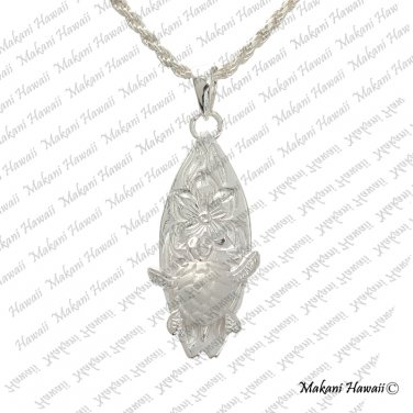 Turtle Scroll Surfboard Hawaiian Silver Pendant Necklace
