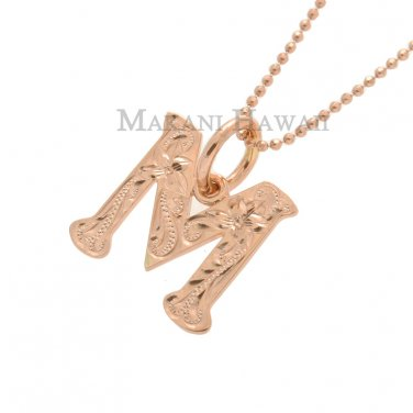 14KT Pink Gold Initial Pendant M
