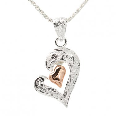 Open Scroll Heart+Pink Gold Plated Heart Pendant