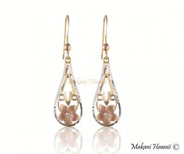14K Tri-Color Gold Plumeria Drop Hook Earrings