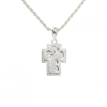 Hawaiian Jewelry Scroll Double Aloha Cross Pendant