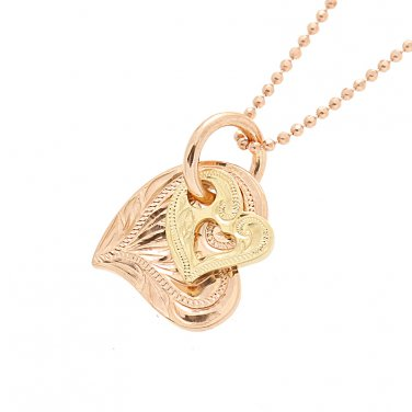 14KT Pink Gold/Yellow Gold Two Tone Double Scroll Heart Pendant