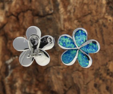 22mm Hawaiian Plumeria Sterling Silver Opal French Clip Earrings
