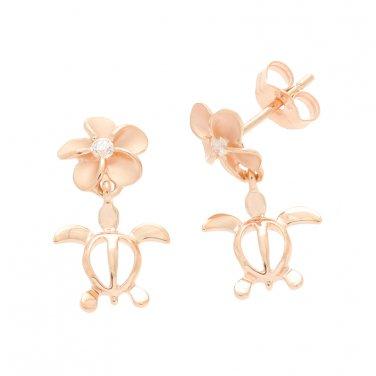 14KT Pink Gold Plumeria Turtle Honu Earrings 8mm