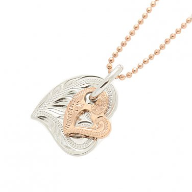 14KT White Gold/Pink Gold Two Tone Double Scroll Heart Pendant