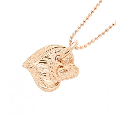 14K Pink Gold Double Scroll Heart Pendant
