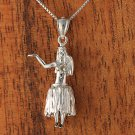 14K White Gold Hula Girl Pendant