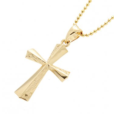 14K Yellow Gold Half Scroll Cross Pendant