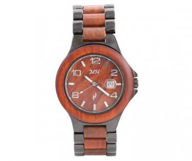 Mens Natural Rose Wood & Metal Watch with Black Coating