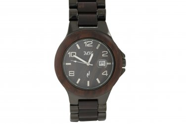 Mens Natural Chocolate Sandalwood & Metal Watch Iron Plated