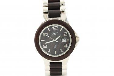 Mens Natural Chocolate Sandalwood & Metal Watch Silver