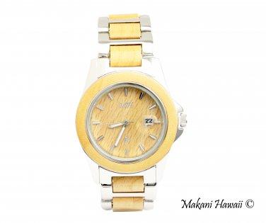 Makani Hawaii Men's Natural Maple Wood Silver-Tone Classic Dial Watch