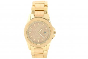 Makani Hawaii Men's Natural Maple Wood Gold-Plated Classic Dial Watch