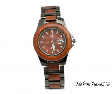 Makani Hawaii Women's Natural Rose Wood Iron-Plated Classic Dial Watch