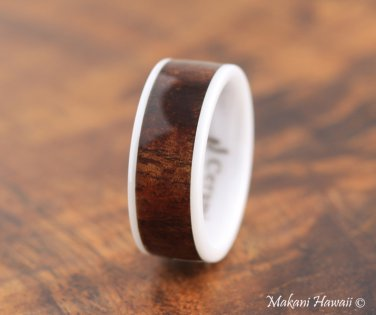 High Tech White Ceramic Koa Wood Wedding Ring 8mm