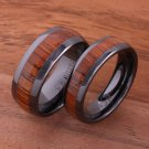 Koa Wood Inlaid High Tech Black Ceramic Wedding Ring Set Dome TUR4005/TUR4006
