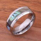 Abalone Shell Inlaid Tungsten Beveled Edge Wedding Ring 8mm TUR1010