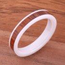 Natural Koa Wood High-tech White Ceramic Wedding Ring Flat 4mm TUR4017