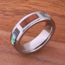Natural Hawaiian Koa Wood and Abalone Inlaid Tungsten Block Ring 6mm TUR4027