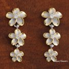 Sterling Silver Rhodium Two-Tone Plated 12-10-8mm Plumeria Post Earrings SE54805