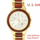 Men's Natural Rosewood YG Plated Chronograph Look with CZ Dial Watch W9005GY1