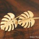 14K Yellow Gold Monstera Leaf Post Earrings Hawaiian Jewelry GE2145