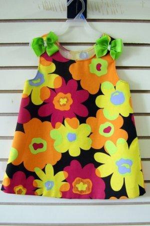 Black Daisy A Line Dress