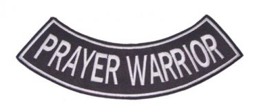 PRAYER WARRIOR SIDE OR BOTTOM ROCKER PATCH FOR CHRISTIAN BIKERS RIDER