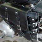 Solo Black Leather Saddle Bag 702 w/Bottle FLSTC/FLSTCI Heritage Softail Classic