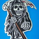 LARGE GRIM REAPER FLIPPING ANARCHY BACK PATCH FOR BIKER MOTORCYCLE JACKET VEST