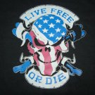 MOTORCYCLE BIKER T SHIRT LIVE FREE OR DIE RED WHITE BLUE SKULL  L, XL OR XXL