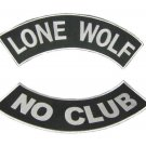 LONE WOLF NO CLUB BACK PATCHES ROCKERS SET BIKER MOTORCYCLE VEST JACKET