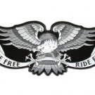 Live Free Ride Free Silver Eagle Patch Leather Vest Jacket Large BackPatch