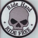 Ride Hard Ride Free  Skull Patch Badge for Biker Motorcycle Vest Jacket Size 4""