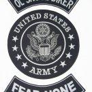 U.S. ARMY OL SKOOL BIKER FEAR NONE Patch Set White on Black Background