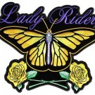 Lady Rider Patch Women's Butterfly Roses Yellow Purple 7x5 for Biker vest Jacket