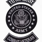 U.S. ARMY TATTOO ARTIST COMBAT VETERAN Patch Set White on Black Background
