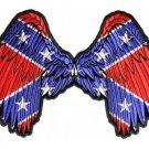 Rebel Wings with Confederate Flag Southern Biker Leather Vest Jacket Large Back