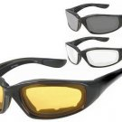 Motorcycle Glasses Padded Dark Clear and Yellow Lenses 3 Pairs Set New Warrantee