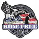 Ride Free Eagle POW MIA Patch Red White Blue Leather Vest Jacket Large BackPatch